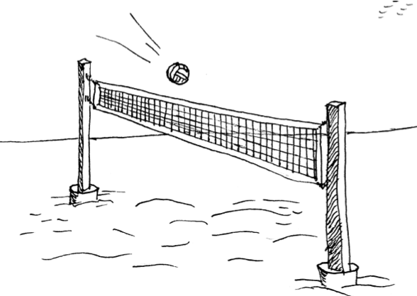 Ball going over a net